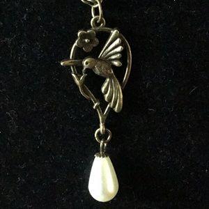 Jewelry - BRASS HUMMINGBIRD,FLOWER & PEARL PENDANT NECKLACE